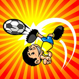 Brasilian soccer player boy. A smiling boy playing soccer,  illustration, yellow to red gradient Royalty Free Stock Image