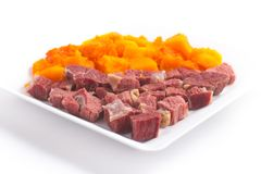 Brasilianer Jaba COM Jerimum Gestoßenes Rindfleisch oder trocknet Treffung Kürbis Lizenzfreies Stockfoto