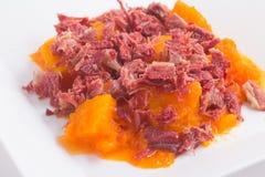 Brasilianer Jaba COM Jerimum Gestoßenes Rindfleisch oder trocknet Treffung Kürbis Lizenzfreies Stockbild