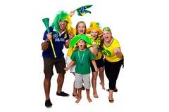 Brasilianische Fans, die an zujubeln Lizenzfreies Stockfoto