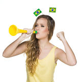 Brasilianische Fans, Fußball Lizenzfreies Stockfoto