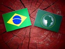 Brasilianische Flagge mit Flagge der Afrikanischen Union auf einem Baumstumpf Lizenzfreie Stockfotos