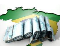 Brasilianische Karte und gefaltete Anmerkungen Lizenzfreies Stockfoto