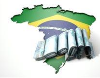 Brasilianische Karte und gefaltete Anmerkungen Stockfotos