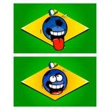 Brasilianische lustige Fußballflaggen Stockbilder
