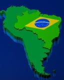Brasilianische Markierungsfahne über der Karte Lizenzfreies Stockfoto