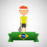 Brasilianischer Aufkleber des Karikaturtennisspielers Stockbild