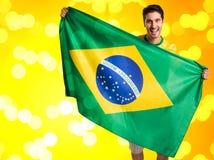 Brasilianischer Fan feiert Lizenzfreie Stockfotografie