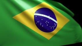 Brasilianischer Flaggen-Hintergrund, der im Wind nahtloses Schleifungsluma Matt-4K durchbrennt vektor abbildung