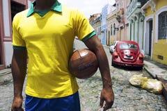 Brasilianischer Fußball-Spieler Pelourinho Salvador Bahia Brazil Street Stockbild