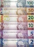 Brasilianischer wirklicher Rechnungs-Hintergrund Stockfotos