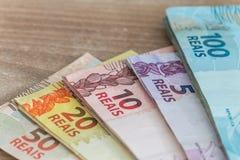 Brasilianisches Geld, Reais Lizenzfreie Stockbilder