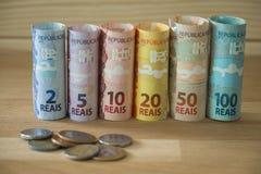 Brasilianisches Geld/Reais/verschiedene Bezeichnung lizenzfreies stockbild