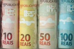 Brasilianisches Geld/Reais, verschiedene Bezeichnung lizenzfreie stockfotos