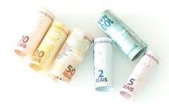 Brasilianisches Geld/Reais/verschiedene Bezeichnung stockbild