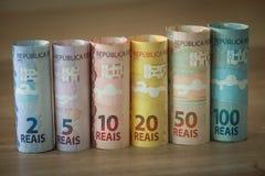 Brasilianisches Geld/verschiedene Bezeichnung lizenzfreies stockbild