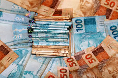 Brasilianisches Geldpaket Stockbild