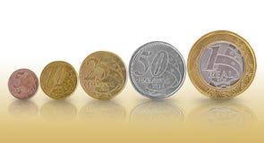 Brasilianisches wirkliches Münze Wachstums-Diagramm Stockfotos