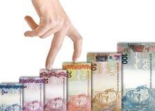 Brasilianisches wirkliches Papier Bill Growth Graph Lizenzfreie Stockbilder