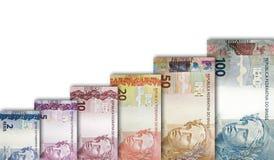 Brasilianisches wirkliches Papier Bill Growth Graph Stockfotos