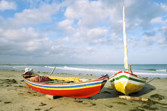 BrasilianJangada fiskebåtar Jericoacoara Fotografering för Bildbyråer