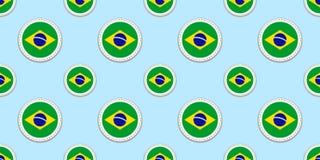 Brasiliansk bakgrund Sömlös modell för Brasilien rundaflagga Vektorcirkelsymboler Geometriska symboler Texturera för sportsidor,  stock illustrationer
