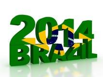 Brasiliansk flagga i text 3d på vit bakgrund vektor illustrationer