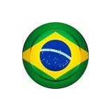 Brasiliansk flagga på den runda knappen, illustration Arkivfoton