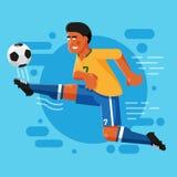 Brasiliansk fotbollslagman med en afro frisyr vektor illustrationer