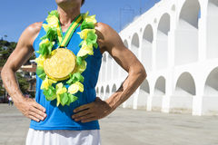 Brasiliansk idrottsman nen Rio Brazil för guldmedalj arkivfoton