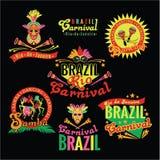 brasiliansk karneval Stor uppsättning av brasilianska mallar Royaltyfri Fotografi