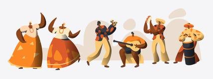 Brasiliansk karnevalteckendansare Set Kvinnadans i den traditionella Brasilien dräkten på beröm för nationell ferie royaltyfri illustrationer