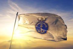 Brasiliansk marin av tyg för torkduk för Brasilien flaggatextil som vinkar på den bästa soluppgångmistdimman royaltyfri illustrationer