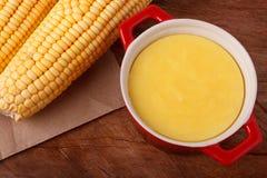Brasiliansk sötsak vaniljsås-som efterrätt curau de milho mousse av Co Arkivfoto