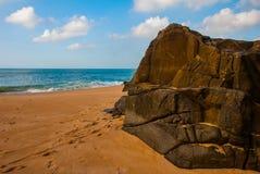 Brasiliansk strand med gul sand och bl?tt hav i soligt v?der _ Salvador h?rligt dimensionellt diagram illustration s?dra tre f?r  royaltyfri bild