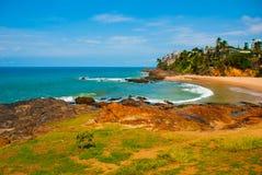 Brasiliansk strand med gul sand och bl?tt hav i soligt v?der _ Salvador h?rligt dimensionellt diagram illustration s?dra tre f?r  fotografering för bildbyråer