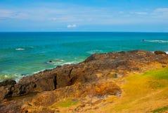 Brasiliansk strand med gul sand och bl?tt hav i soligt v?der _ Salvador h?rligt dimensionellt diagram illustration s?dra tre f?r  arkivbilder