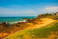 Brasiliansk strand med gul sand och bl?tt hav i soligt v?der _ Salvador h?rligt dimensionellt diagram illustration s?dra tre f?r  arkivfoto