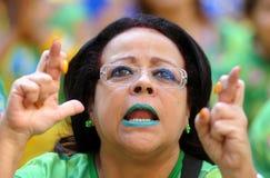 Brasilianska fotbollfans Royaltyfria Bilder