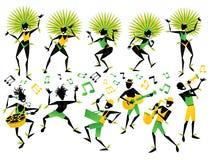 Brasilianska karnevaldansare och musiker stock illustrationer
