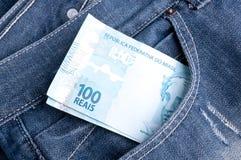 brasilianska pengar arkivfoto