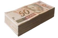 Brasilianska pengar - 50 Reais Fotografering för Bildbyråer