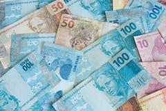 Brasilianska pengar/reais/olik nominal Arkivbilder