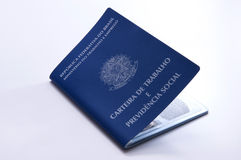 Brasilianskt arbetsdokument och socialförsäkringdokument (carteira D Arkivfoto