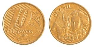 10 brasilianskt verkligt centavos mynt Fotografering för Bildbyråer