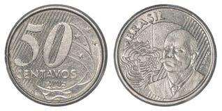 50 brasilianskt verkligt centavos mynt Arkivfoto