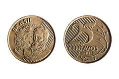 Brasilianskt verkligt tjugofem cent mynt Royaltyfria Bilder