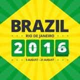 Brasilien affisch 2016 stock illustrationer