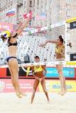 Brasilien-Athletenspielvolleyball in der Land-Quote Stockbilder