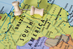 Brasilien auf einer Karte Lizenzfreie Stockbilder